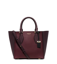 Gracie Medium Color-Block Leather Tote - CLARET - 31F5GGRT2L