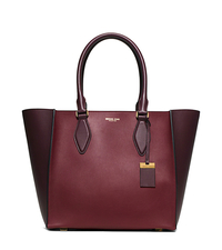 Gracie Large Color-Block Leather Tote - CLARET - 31F5GGRT3L