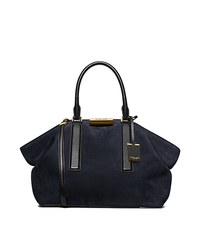 Lexi Large Suede and Leather Satchel - NAVY/BLACK - 31F5GLXS3D