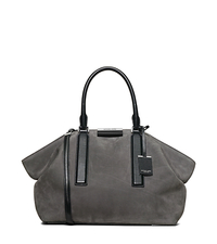 Lexi Large Suede and Leather Satchel - SLATE/BLACK - 31F5PLXS3D