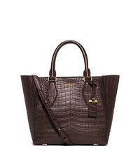 Gracie Medium Crocodile Tote - CHOCOLATE - 31F5GGRT2R