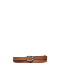 Double-Ring Leather Belt - LUGGAGE - 31S6PBLR1L