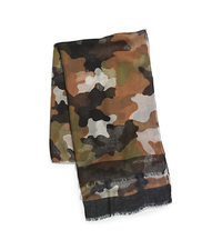 Kala Camouflage Modal and Silk-Blend Scarf - ARMY - 29536314