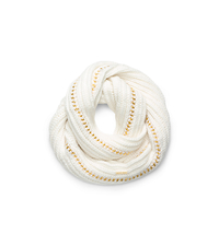 Chain-Embellished Infinity Scarf - CREAM - 29536181