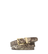 Reversible Logo-Print and Python Pattern-Embossed Leather Belt - GREY - 29553390