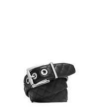 Grommet-Embellished Quilted-Leather Belt - BLACK/GUNMETAL - 29553364