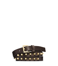 Studded Saffiano Leather Belt - BROWN - 29553355