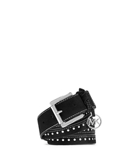 Charm-Embellished Studded Suede Belt - BLACK - 29553375