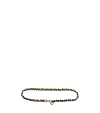 Pavé Charm and Chain-Laced Leather Belt - GOLD - 29553379
