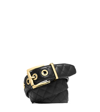 Grommet-Embellished Quilted-Leather Belt - BLACK/GOLD - 29553364