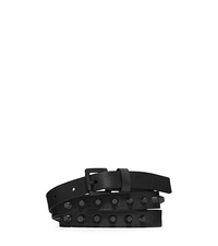Studded Saffiano Leather Belt - BLACK - 29553355