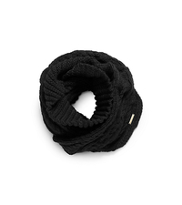 Hand-Knit Infinity Scarf - BLACK - 536400