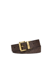 Reversible Logo and Embossed-Leather Belt - BROWN - 553501