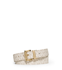 Reversible Logo and Embossed-Leather Belt - VANILLA - 553501