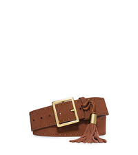 Tassel-Buckle Suede Belt - WALNUT - 554542