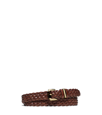 Braided Leather Belt - LUGGAGE - 551616