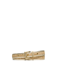 Leather-Trimmed Straw Belt - GOLD - 551655
