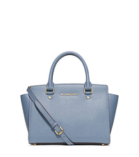 Selma Saffiano Leather Medium Satchel - PALE BLUE - 30S3GLMS2L