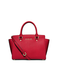 Selma Saffiano Leather Medium Satchel - CHILI - 30S3GLMS2L