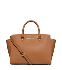 Selma Large Saffiano Leather Satchel - PEANUT - 30S3GLMS7L