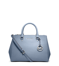 Sutton Saffiano Leather Medium Satchel - PALE BLUE - 30S4STVS6L