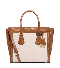 Colette Large Embossed-Leather and Canvas Satchel - Ecru/Dark Walnut - 30S5GCES3C