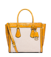 Colette Large Embossed-Leather and Canvas Satchel - ECRU/YELLOW - 30S5GCES3C
