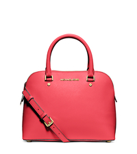 Cindy Medium Saffiano Leather Dome Satchel - WATERMELON - 30S5GCPS2L