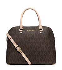 Cindy Large Logo Satchel - BROWN - 30S5GCPS3B