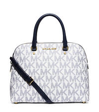 Cindy Large Logo Satchel - NAVY/WHITE - 30S5GCPS3B