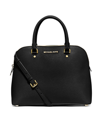 Cindy Large Saffiano Leather Satchel - BLACK - 30S5GCPS3L