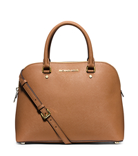 Cindy Large Saffiano Leather Satchel - PEANUT - 30S5GCPS3L