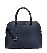 Cindy Large Saffiano Leather Satchel - NAVY - 30S5GCPS3L
