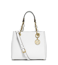 Cynthia Small Leather Satchel - OPTIC WHITE - 30S5GCYS1L