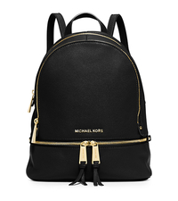 Rhea Small Leather Backpack - BLACK - 30S5GEZB1L