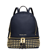 Rhea Small Studded Leather Backpack - NAVY - 30S5GEZB5L