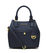 Greenwich Medium Saffiano Leather Satchel - NAVY/HERITAGE BLUE - 30S5GGRT6U