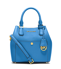 Greenwich Medium Saffiano Leather Satchel - HERITAGE BLUE - 30S5GGRT6U