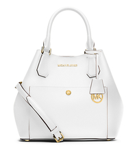 Greenwich Large Saffiano Leather Satchel - OPTIC WHITE/BLK - 30S5GGRT7U