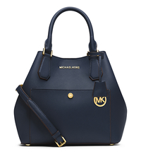 Greenwich Large Saffiano Leather Satchel - NAVY/HERITAGE BLUE - 30S5GGRT7U