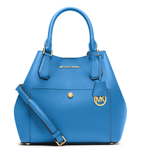Greenwich Large Saffiano Leather Satchel - HERITAGE BLUE - 30S5GGRT7U