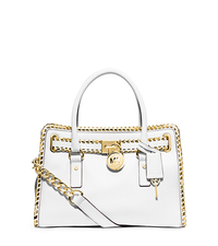 Hamilton Whipstitch-Trim Leather Satchel - WHITE/GOLD - 30S5GHWS7L