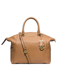 Riley Large Pebbled-Leather Satchel - PEANUT - 30S5GRLS3L