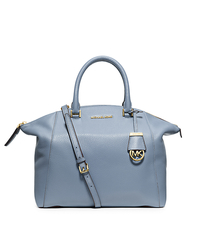 Riley Large Pebbled-Leather Satchel - PALE BLUE - 30S5GRLS3L