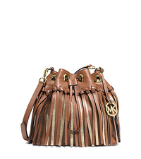 Christy Medium Fringed Messenger - LUGGAGE/PALE GOLD - 30S5GTHM2U