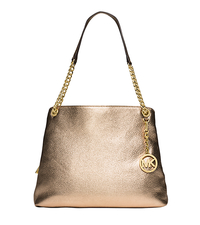 Jet Set Large Metallic Leather Shoulder Bag - PALE GOLD - 30S5MTCE3M