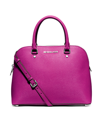 Cindy Large Saffiano Leather Satchel - FUCHSIA - 30S5SCPS3L