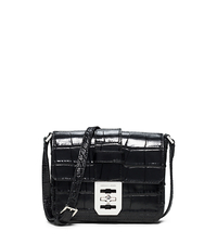 Mila Small Embossed-Leather Messenger - BLACK - 30S5SIMM1E