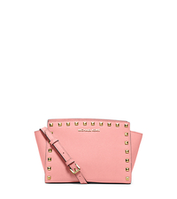 Selma Medium Studded Saffiano Leather Messenger - PALE PINK - 30T3GSMM2L