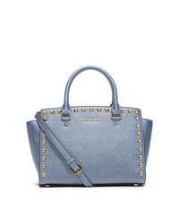Selma Medium Studded Saffiano Leather Satchel - PALE BLUE - 30T3GSMS2L